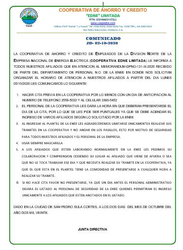 COMUNICADO  JD- 02-10-2020