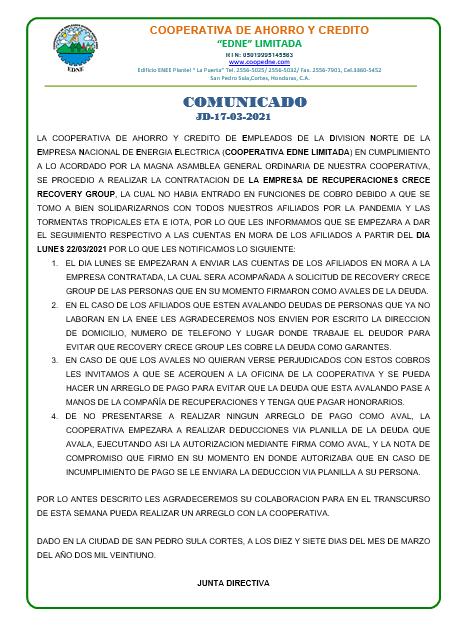 COMUNICADO  JD-17-03-2021